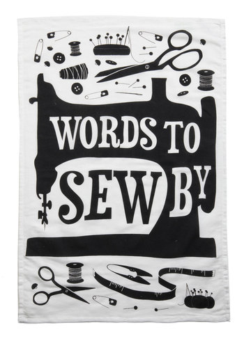 Word Up Tea Towel in Sew - Black, White, Print, Handmade & DIY