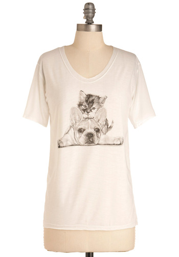 On Top of the World Tee - White, Black, Print with Animals, Casual, Short Sleeves, Mid-length