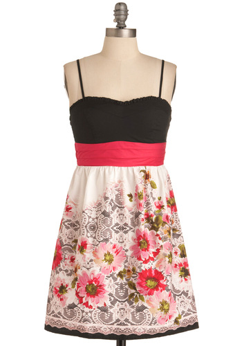 Made My Day Dress - Multi, Pink, Black, White, Floral, Ruffles, Party, Twofer, Spaghetti Straps, Short