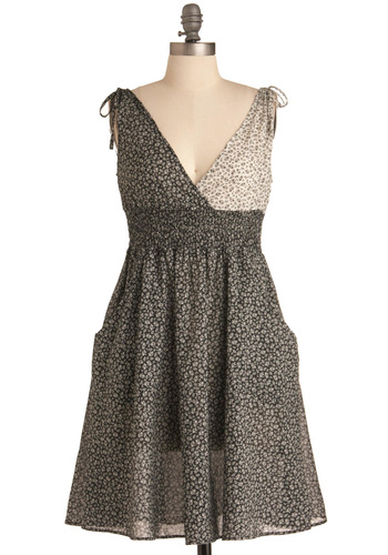 Leave the Light On Dress - Mid-length, Casual, Black, White, Floral, Pockets, Wrap, Sleeveless