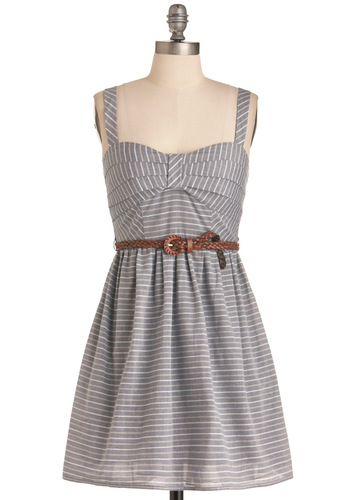 Casual Conversation Dress - Grey, Pink, Tan / Cream, Stripes, Party, A-line, Spaghetti Straps, Mid-length