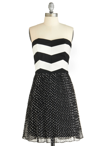 My Heart Goes Pitter-Pattern Dress - Black, White, Stripes, Party, Twofer, Strapless, Mid-length