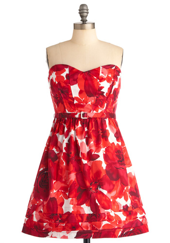 Bayside Blooms Dress - Red, Floral, Party, A-line, Strapless, Mid-length, Fit & Flare, Belted, Cocktail, Cotton, Sweetheart