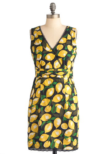 Lemon Amie Dress by Yumi - Mid-length, Fruits, Print, Pockets, Trim, Sheath / Shift, Sleeveless, Yellow, Green, Black, Party