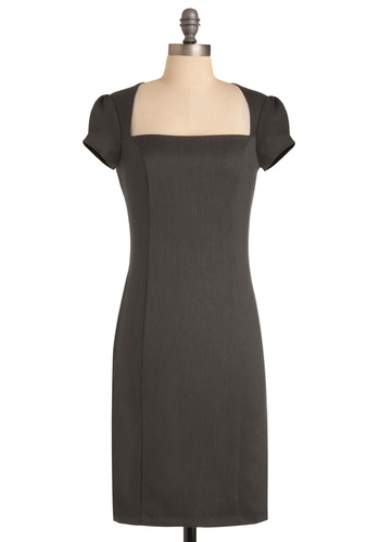 Un-twill We Meet Again Dress in Grey - Work, Pinup, Grey, Solid, Shift, Cap Sleeves, Long