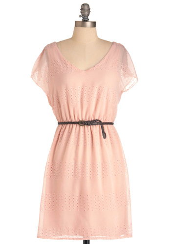 The Eyelet of Capri Dress - Mid-length, Pink, Eyelet, Casual, Sheath / Shift, Short Sleeves, Spring