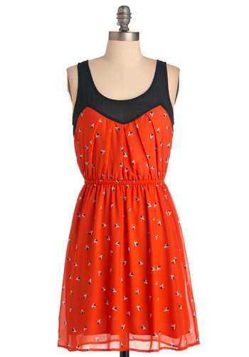 Third Tri's the Charm Dress - Mid-length, Orange, Black, Multi, Print, Tank top (2 thick straps)