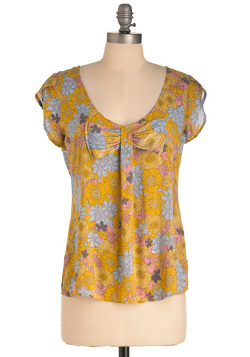 Housewares Hunting Top by Tulle Clothing - Mid-length, Yellow, Floral, Bows, Casual, Multi, Blue, Purple, Pink, Vintage Inspired, 70s, Cap Sleeves, Spring, Scoop