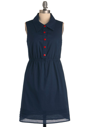 And We're Rolling Dress by Tulle Clothing - Mid-length, Blue, Red, Solid, Buttons, Pockets, Casual, Vintage Inspired, 60s, Sheath / Shift, Sleeveless