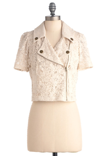 The Moped the Merrier Jacket by Tulle Clothing - Short, Casual, Cream, Lace, Short Sleeves, Spring, 1
