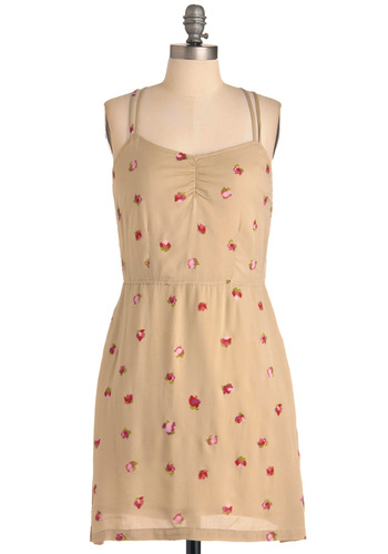 Bud-y Buddy Dress by Tulle Clothing - Mid-length, Tan, Floral, Pockets, Spaghetti Straps, Green, Pink