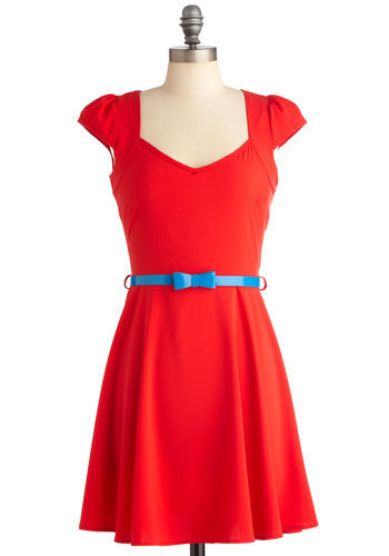 Berry on Top Dress - Mid-length, Casual, Red, Solid, Bows, Cutout, A-line, Cap Sleeves, Belted, Sweetheart