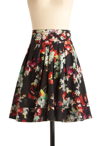 Stop to Say Hydrangea Skirt in Black - Mid-length, Casual, Black, Multi, Floral, Multi, A-line