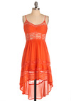 It's Not Me, It's Juice Dress - Short, Boho, Orange, Lace, Party, Empire, Spaghetti Straps