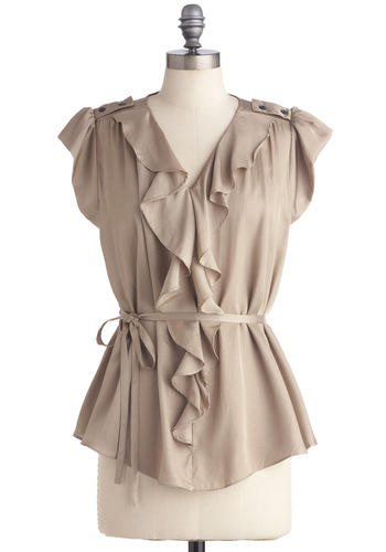 Local Lecture Top - Mid-length, Solid, Buttons, Ruffles, Tan, Epaulets, Work, Cap Sleeves
