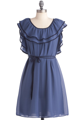 Date with Fate Dress - Mid-length, Boho, Blue, Ruffles, Trim, Party, Shift, Cap Sleeves, Belted