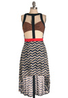 Avant Garden Party Dress - Mid-length, Statement, Multi, Red, Brown, Black, Stripes, Cutout, Tank top (2 thick straps), Summer, Girls Night Out, High-Low Hem