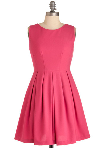 Cue the Compliments Dress in Pink - Short, Pink, Solid, Pleats, Pockets, Casual, A-line, Mini, Sleeveless, Neon, Cocktail, Fit & Flare