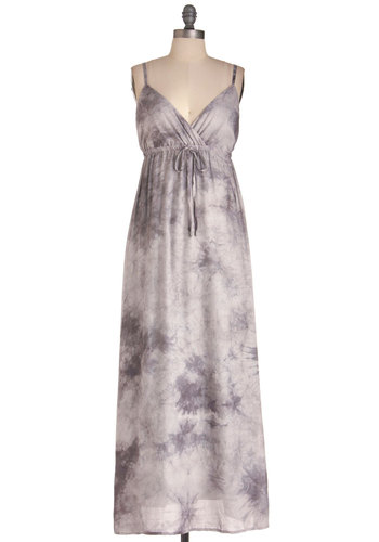 Breath of Tranquility Dress - Long, Casual, Boho, Grey, Tie Dye, Maxi, Spaghetti Straps