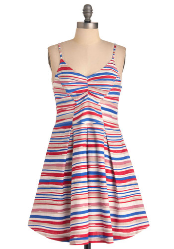 Boardwalk this Way Dress by Jack by BB Dakota - Mid-length, Multi, Stripes, Pleats, A-line, Spaghetti Straps, Party, Vintage Inspired, 70s, Red, Blue, Pink, Tan / Cream, Nautical, Fit & Flare