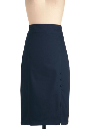 Beauty and the Bistro Skirt - Long, Blue, Solid, Buttons, Rockabilly, Pinup, Vintage Inspired, 40s, 50s, Work, Nautical, Denim, Exclusives, Pencil, High Waist
