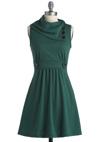 Coach Tour Dress in Jade - Mid-length, Casual, 60s, Green, Solid, Buttons, Pockets, Sleeveless, A-line
