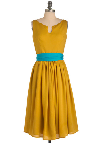 Effortless Allure Dress in Gold - Formal, Wedding, Party, Vintage Inspired, Yellow, Blue, Solid, Bows, Pleats, A-line, Sleeveless, Scallops, Long, Exclusives