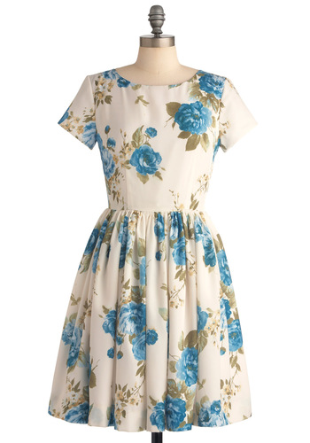 Beauty in the Air Dress in Delphinium - Casual, Vintage Inspired, Blue, Floral, Pleats, A-line, Short Sleeves, Blue, Multi, Green, Spring, Mid-length, Exclusives
