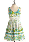 Garden Waltz Dress - Mid-length, Casual, Lace, Pleats, A-line, Sleeveless, Green, Blue, Grey, White, Floral, Spring