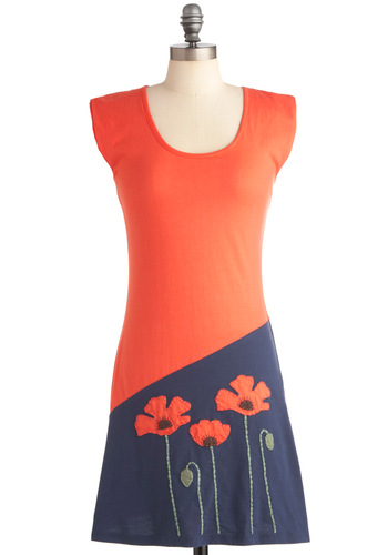Poppy Frock Dress - Mid-length, Casual, Orange, Blue, Flower, Shift, Embroidery, Cap Sleeves, Eco-Friendly, Cotton, Travel