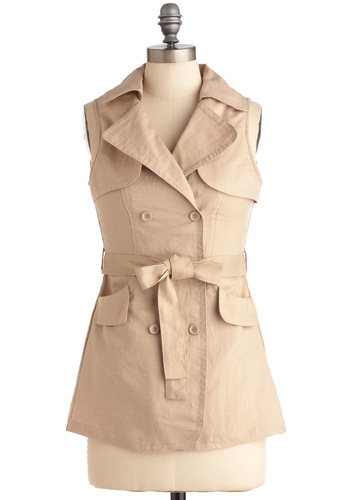 Cab Across Town Top - Casual, Urban, Solid, Buttons, Sleeveless, Tan, Safari, Mid-length