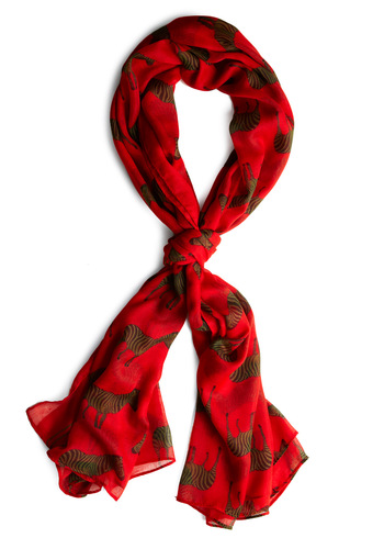 What a Gal-lop Scarf - Red, Black, Print with Animals, Brown, Casual, Safari