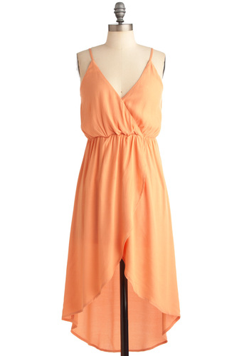 Hummus Bar Dress - Short, Orange, Solid, Sheath / Shift, Spaghetti Straps, Casual, Summer