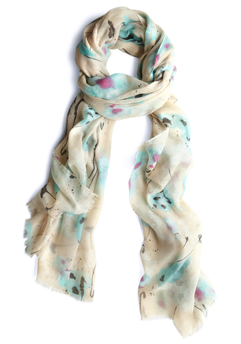 Blot Out a Route Scarf - Multi, Pink, Black, Floral, Fringed, Blue, Tan / Cream, Spring