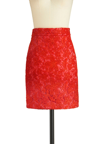 Bloom on Fire Skirt - Short, Red, Lace, Party, Press Placement, Girls Night Out, Pencil