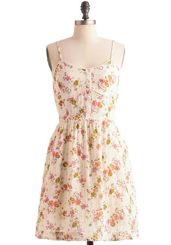By the Book-Fair Dress by Tulle Clothing - Mid-length, Multi, Floral, Pockets, Sheath / Shift, Spaghetti Straps, Casual, Vintage Inspired, White, Buttons, Lace