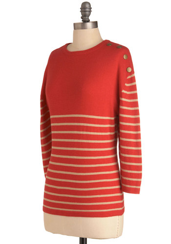 Lovely Living Quarters Sweater by Tulle Clothing - Tan / Cream, Stripes, Buttons, Long Sleeve, Casual, Nautical, Orange, Mid-length