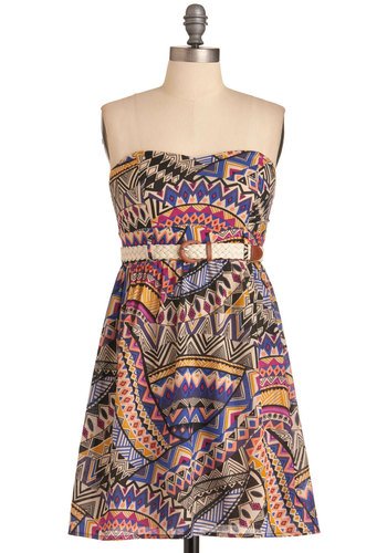 Busy Traveler Dress - Multi, Print, Strapless, Urban, Orange, Yellow, Blue, Pink, Black, White, Empire, Mid-length, Belted, Cotton, Sweetheart