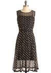 Piano Performance Dress by Eva Franco - Long, Black, White, Polka Dots, Pleats, Sheath / Shift, Sleeveless, Party, Belted, Sheer, Tis the Season Sale