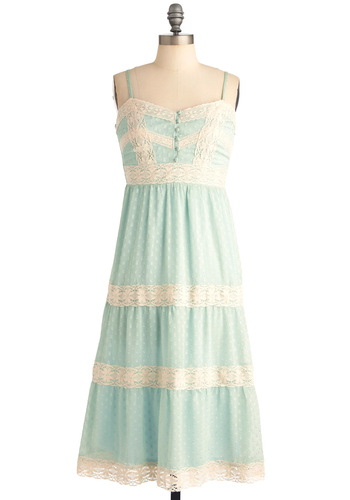 Lacy in the Sky Dress - Tan / Cream, Lace, Empire, Spaghetti Straps, Boho, Pastel, Mint, Long, Spring, Summer