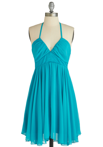 Sample 1529 - Blue, Solid, Cutout, Pleats, Sheath / Shift, Halter