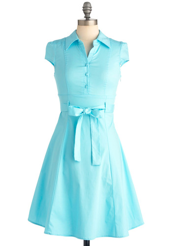 Soda Fountain Dress in Ice - Rockabilly, Vintage Inspired, Blue, Solid, Buttons, Pleats, A-line, Cap Sleeves, Mid-length, 50s, Work, Casual