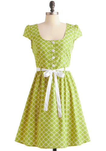 Tile and Tile Again Dress - Mid-length, Green, White, Print, Buttons, A-line, Cap Sleeves, Vintage Inspired, Spring, Belted, Sheer, Fit & Flare