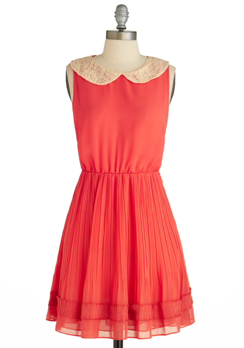 Sample 1532 - Orange, Solid, Embroidery, Peter Pan Collar, Pleats, Trim, A-line, Sleeveless