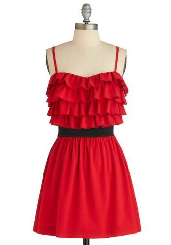 Sample 1535 - Red, Black, Solid, Ruffles, A-line, Spaghetti Straps
