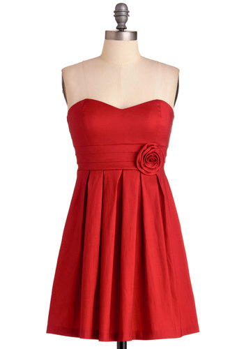 Ruby My Valentine Dress - Short, Red, Solid, Flower, Pleats, Strapless, Prom, Wedding, Party, Empire, Mini