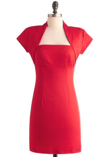 But Of Course Dress - Short, Red, Solid, Cutout, Sheath / Shift, Cap Sleeves, Pinup, Vintage Inspired, Party, 60s, Mini