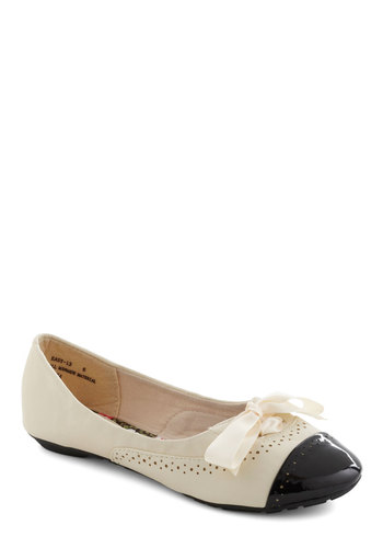 Fancy Feet Flat - Cream, Black, Bows, Solid, Work