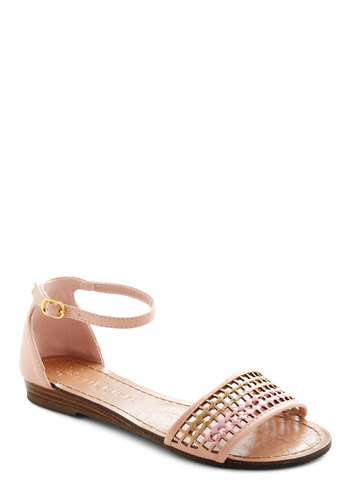 Wearing is Be-weaving Sandal - Pink, Buckles, Cutout, Tan / Cream, Solid, Casual, Summer