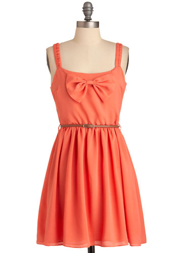 Cut to the Coral Dress - Short, Orange, Solid, Bows, Pleats, A-line, Tank top (2 thick straps), Casual